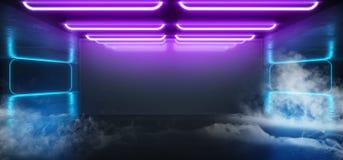 蒸汽烟雾萤光充满活力的霓虹未来派科学幻想小说发光的紫色蓝色虚拟现实网络隧道水泥难看的东西地板 向量例证