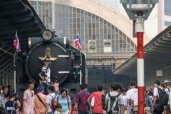蒸火车在泰国的状态铁路119年周年 库存图片