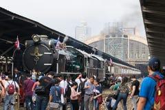蒸火车在泰国的状态铁路119年周年 免版税库存图片