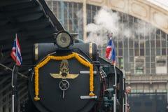 蒸火车在泰国的状态铁路119年周年 图库摄影