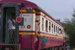 蒸火车在泰国的状态铁路119年周年 免版税库存照片