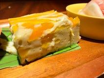 蒸的南瓜用浓乳蛋糕 免版税库存图片