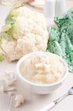 蒸的和被制成菜泥的花椰菜 免版税库存图片