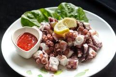 蒸的章鱼用红色调味汁 库存图片