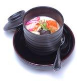 蒸的美味蛋乳蛋糕或Chawan Mushi,日本热的appe 库存照片