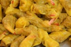 蒸的虾饺子 免版税库存图片