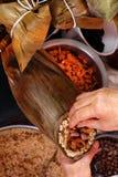 蒸的饺子米 免版税图库摄影