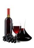 蒸馏瓶botle和玻璃用红葡萄酒 免版税图库摄影