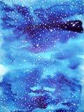蓝天世界,宇宙水彩绘画背景 库存图片