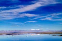 蓝天在阿塔卡马沙漠 图库摄影