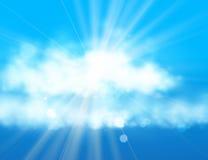 蓝天星期日 与爆炸光芒的现实迷离设计 提取背景发光 库存例证