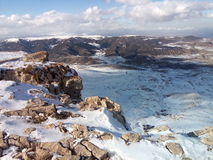 蓝天白色雪山云彩 库存图片