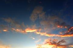 蓝天的全景与云彩的 免版税库存图片