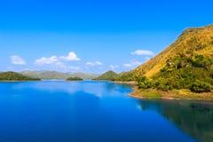 蓝天的山湖 免版税库存图片