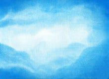 蓝天的水彩例证与云彩的 艺术性的自然绘画摘要背景 免版税库存图片