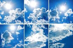 与厚实的云彩的汇集蓝天 免版税库存照片