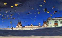 蓝天的秋天反映在雨以后的 库存图片