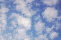 蓝天的远的背景的飞机 免版税库存图片