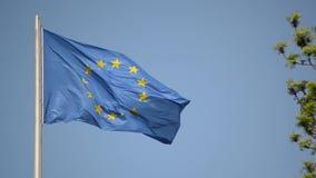 蓝天背景旗杆上挥舞着欧盟旗帜 风中飘扬的欧盟旗帜 EU波的象征 股票录像