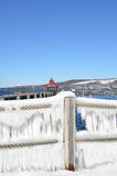 蓝天,雪,绳索的冰帷幕操刀俯视的塞内卡L 库存图片