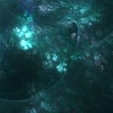 蓝天Peekin通过包围伊甸园的森林|分数维艺术 库存图片