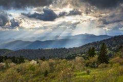 蓝岭山行车通道风景北卡罗来纳阿巴拉契亚山脉 图库摄影