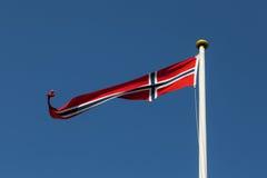 蓝旗信号做挪威红色向量白色 库存照片