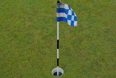 蓝旗信号绿色实践小的白色 库存照片