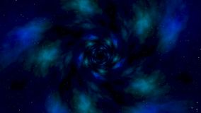 蓝星隧道摘要行动背景 行动的抽象动画在蓝色空间管的 股票视频