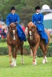 从蓝星骑马女鞍的两名妇女 库存照片