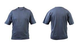 蓝灰色T恤杉前面和后面视图。 图库摄影