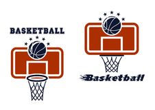 蓝球板和篮球标志 图库摄影