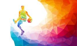 蓝球运动员在五颜六色的低多背景的跳投多角形剪影 向量例证