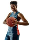 蓝球运动员妇女少年女孩被隔绝的阴影 免版税图库摄影