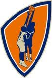 蓝球运动员扣篮块减速火箭球的盾 向量例证