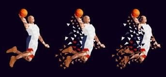 蓝球运动员集合抽象设计 库存例证