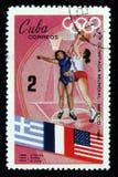 蓝球运动员,奥运会在墨西哥,大约1968年 图库摄影