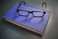 蓝皮书玻璃读 库存照片