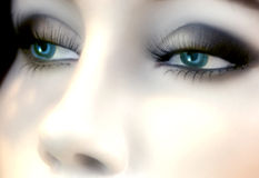 蓝眼睛时装模特 图库摄影