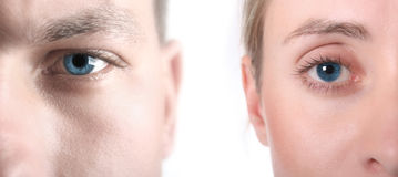 蓝眼睛高关键字 免版税库存图片
