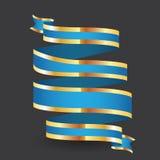 蓝纸丝带有在灰色背景 免版税库存照片