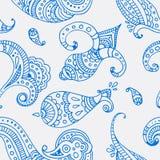 蓝线印地安人佩兹利乱画手拉的无缝的样式 免版税库存照片