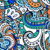蓝线印地安人佩兹利乱画手拉的无缝的样式 免版税库存图片