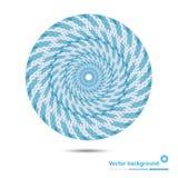 蓝线和斑点的抽象圆标志与空间 免版税库存照片