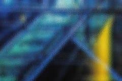 蓝线抽象背景在黑暗的背景和明亮的黄斑,一块misted玻璃的纹理的 库存图片