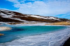 蓝绿色冰岛的高地的冰湖 免版税库存图片