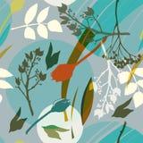 蓝绿色圈子,白色,绿色,橙色花和叶子在钢颜色背景 抽象花卉样式在灰色a树荫下  向量例证