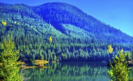 蓝绿色山反射Gold湖秋天Snoqualme通行证W 库存图片