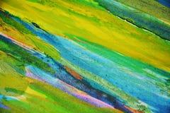 蓝绿色桃红色磷光性泥泞的对比,油漆水彩创造性的背景 免版税库存照片