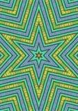 蓝绿色模式形状的星形 向量例证